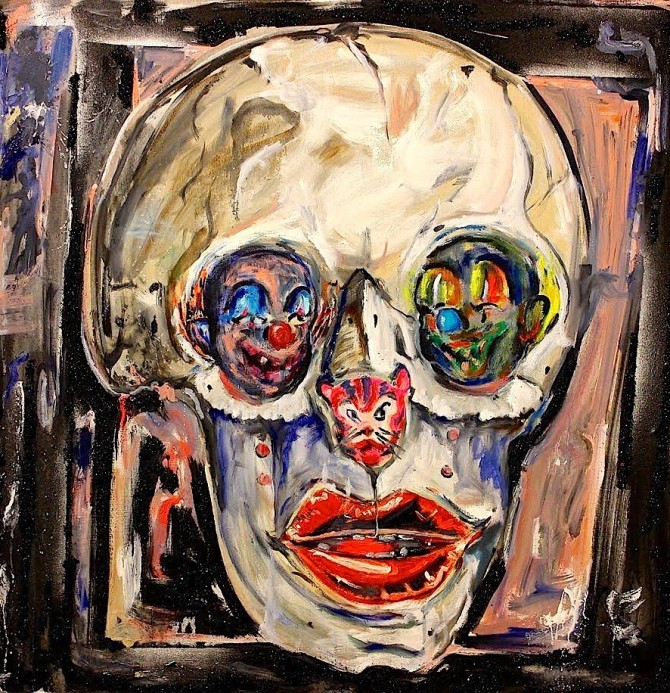"""""""Skull with Clown Eyes"""" by Scooter LaForge 