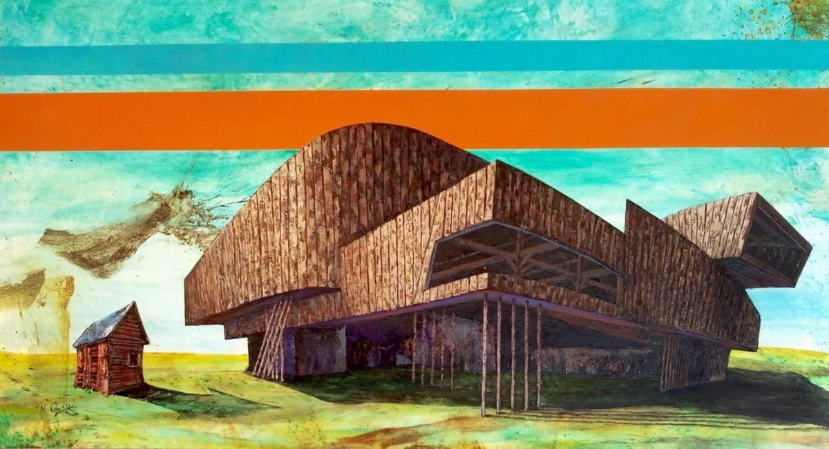 "Zaha Barn"" by Nate Geare | 39"" x 72"" | Oil on Wood Panel | 2016"